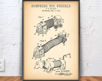 SURPRISE TOY VECIHLE poster, surprise toy vecihle patent, toy blueprint, toy illustration, kids, play room decor, vintage toy, #1026
