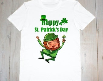 Happy St Patrick's Day-Leprechaun- Printed Adult Tee