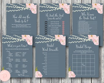 Night Lights Floral Bridal Shower Games Package, Instant Download, 6 Games Printable, Game Download, Bridal Shower Activities TH65