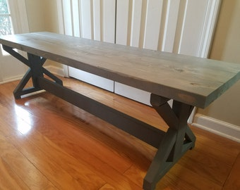 Two Tone Farmhouse Rustic X Trestle Bench
