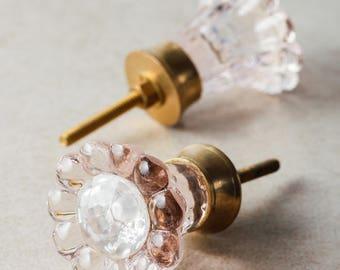 3 Light Pink Glass Daisy Flower Jewelry Box Knob