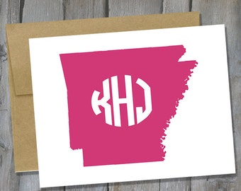 Customizable Arkansas Monogram Notecard Set of 12 - State Note Card Set - Customized Notecards