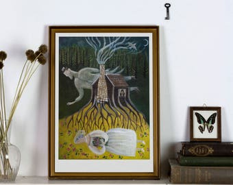 The Wedding - Giclée Print - Macabre Folklore open edition art print-ghost wedding witchy decoration fairy tale dreamy illustration wall art