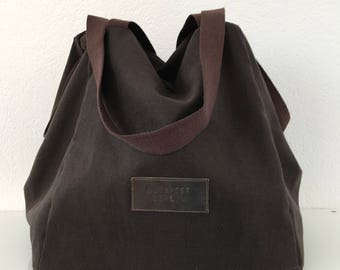 Dark brown cotton canvas cube bag