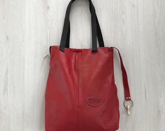 Red leather tote bag, repurposed leather bag