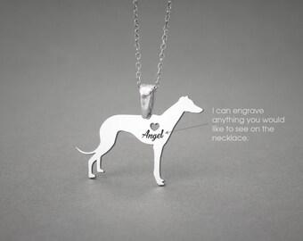GREYHOUND Dog NAME Necklace - Greyhound Name Jewelry - Personalised Necklace - Dog breed Necklace- Dog Necklace