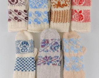 Kids woolen mittens, woolen gloves, warm mittens, knitted mittens, winter gloves, winter mittens, mittens with snowflakes, bright mittens
