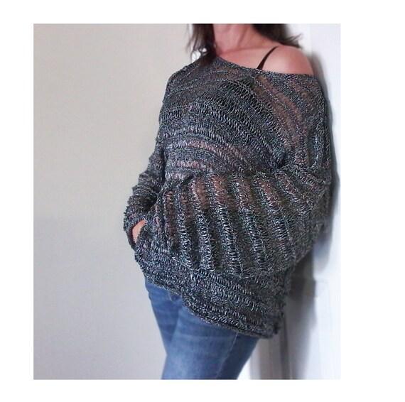 816ece8d9 Free Shipping USA.Hand Knit sweater.Loose sweater.Knit silk blouse ...