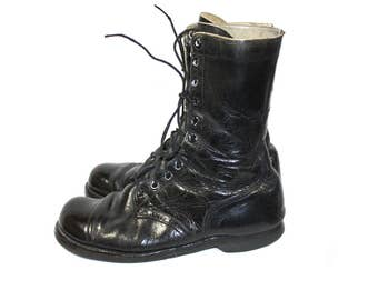 Vintage Men's Black Boots Combat Boots Corcoran Paratrooper Jump Boots Cap Toe 1960's Military Boots Size 11 US Army Boots Motorcycle Boots