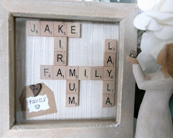 A Personalised Family Tree Scrabble Tile Art Frame. Handmade Gift Hand Stamped Message White Box Anniversary, Birthday, Mum Dad Present