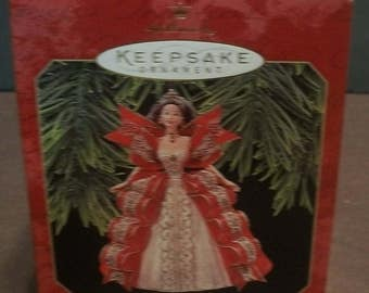 1997 Holiday Barbie Hallmark Keepsake 5th in Series  New Christmas Ornament in Box - In Red And White Dress Replica of 1997 Barbie Doll