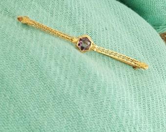 Amethyst brooch amethyst bar pin Vintage gold bar pin vintage sweater pin 10k gold brooch amethyst pin vintage brooch - 2182