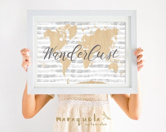 Wanderlust WORLD MAP illustration WATERCOLOR stripes Art Print, gray golden silver hues,love message,words,lovely quotes, gift,poster,travel
