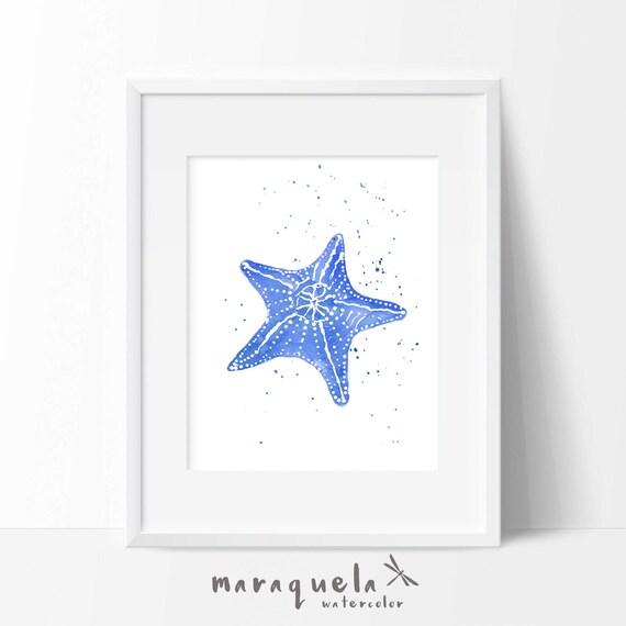 STARFISH illustration in Watercolor,home decor. Decoration ideas bath, beach, sea, homedecor, marine life, gift , dark blue colors wall art