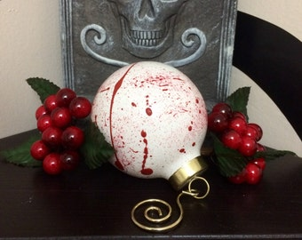 Blood Splatter Ornament, Handpainted, Price is for one (1) ornament, Free Standard U.S. Shipping.