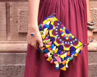 Pom Pom Clutch, Tassel Bag, Boho Tassel Womens Clutch, Handmade Leather Clutch, Bohemian Crossbody, Bright Bohemian Purse, Summer Bag