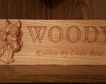 Custom Oak Stable Barn Stall Door Plaque Sign - 3D Carved Horse Head - Engraved Name and Ridden By, Show Name, Owned By - Hard wood
