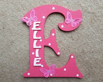 Handmade Personalised Pink Spotty Door Sign Plaque Wall Letter with Butterflies