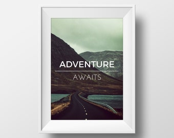 Adventure Awaits Quote Print, Adventure Awaits Printable Art, Mountain Print, Mountain, Winding Road Print Photography Print, Motivational