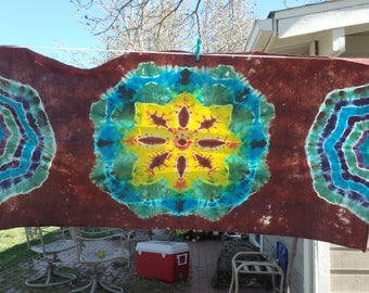 Tie Dye Mandala Tapestry 22 by 45 inches