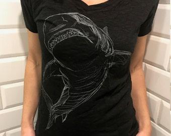 SHARK Tee - Women's Illustration Tee - Animal Art - Short Sleeve V-Neck Tee - David Colman Original