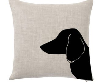 Throw Pillow Cover, Pet Pillow Cover, Dachshund, Portrait, Silhouette, Gifts for Dog Lovers, Cotton Throw Pillow, Custom Pillows, Tote Tails