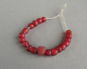 Antique Venetian glass beads, Old Venetian beads, Red glass  beads