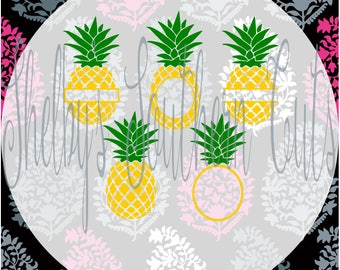 Pineapple Set - Monogram, solid, name - SVG, DXF, EPS