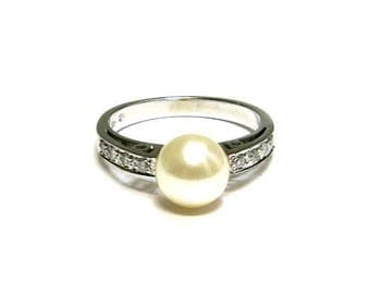 pearl and diamond engagement ring 14k white gold