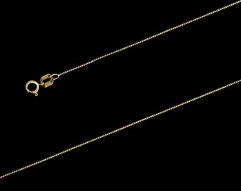 "14K Yellow Gold Box Chain Necklace, 0.5mm, 16""-24"", with Spring Clasp"