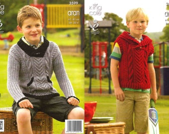 """King Cole Knitting Pattern 3599~Cabled Hoodie & Sweater~Aran~24-32"""""""