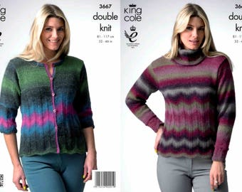 "King Cole Knitting Pattern 3667~Pattern Panel Sweater & Cardigan~DK~32-46"""