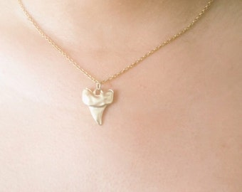 Tiny Gold Matte Shark Tooth Necklace