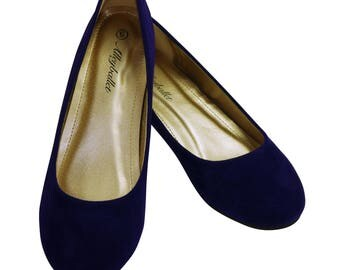 Standard Fit Blue Velvet Hidden Wedge Ballerina Ballet Flat Shoes Secret Heel Lift UK Size 3 3.5 4 5 6