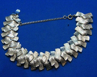 Vintage Corocraft Silver Tone Weave Bracelet w/ Safety Chain