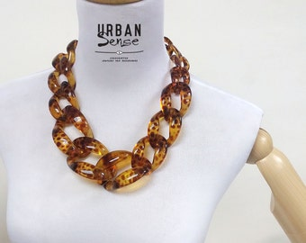 Tortoise Oversized Chunky Link Chain Necklace, Statement Necklace, Bib Necklace, Bridesmaids Necklace, Fashion Party Necklace