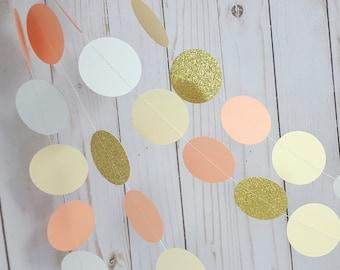 Peach, Ivory and Gold Glitter Circle Garland