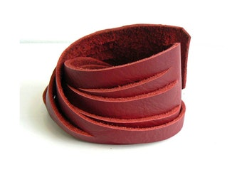 Burgundy Leather Double Wrap Cuff Bracelet