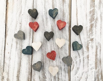 Miniature wood heart magnets