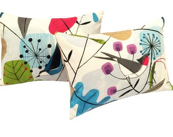 Scandinavian Pillow | Mid Century Pillow | Bird Pillow | Spring Pillow | Retro Pillow | Pilllow Cover and Insert 12x16""