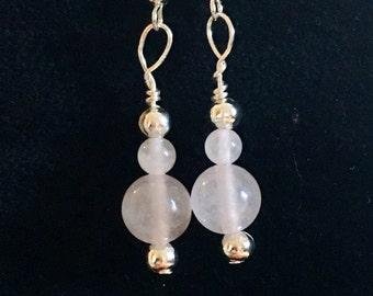 Rose quartz earrings, pink earrings, ladies earrings, dangle earrings,  feminine earrings, dainty earrings