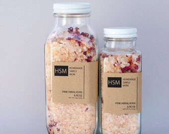 16 oz Pink Himalayan Bath Salts with Organic Rose Petals and essential oils- Bridesmaid gift- Detox Rose bath salts