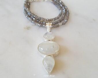 Moonstone Pendant, Labradorite Necklace