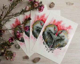 Raven Heart Postcard Set