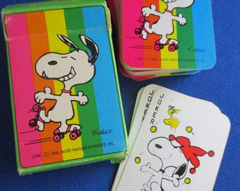 Vintage Snoopy Skating Miniature Playing Cards, Peanuts Cartes a Jouer, 1965 Made in Belgium, Hallmark, 3 1/2 x 1 3/4, Unused set & 3 jokers