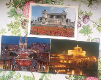 Set of Three Postcards of Rome, Italy / Trinita dei Monti  - Spanish Stairs/ St Angelo Castle/ Altar of the Nation/Vintage Postcards