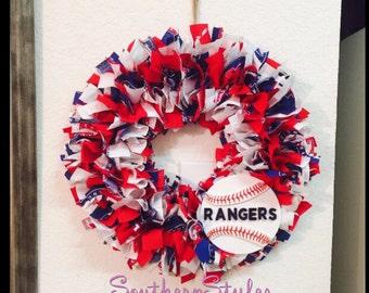 Texas Rangers Mini Wreath - Rangers Wreath- Rangers Fabric Wreath - MLB Wreath