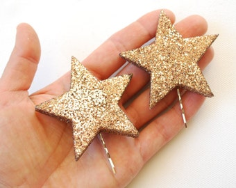 cij sale, two glitter stars bobby pins, girl hair clip, prop, new year, disco, birthday party, twinkle, sparkle, weddings hair accessory