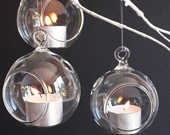 Set of 6  x 3 Inches Round Terrariums,Votive Candles,Hanging Tealight Candle Holders for Wedding Candlestick,Decorate Your Clothing Shop