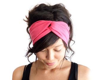 Turban-Stirnband / / Turband / / Hair Wrap / / Torsion Stirnband / / Stoff Haarreif / / Fashion Turban / / Hot Pink / / Dark Coral Pink / / Barbie Pink